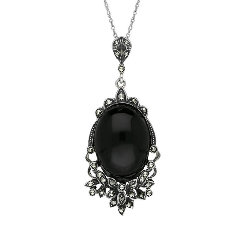 Sterling Silver Whitby Jet Marcasite Edge Oval Flower Large Necklace P2212