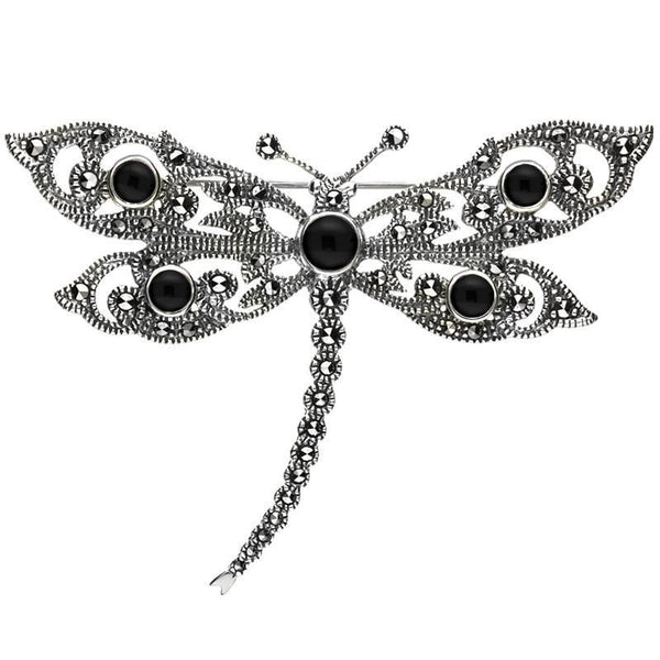 Sterling Silver Whitby Jet Marcasite Five Stone House Style Dragonfly Brooch. M324.