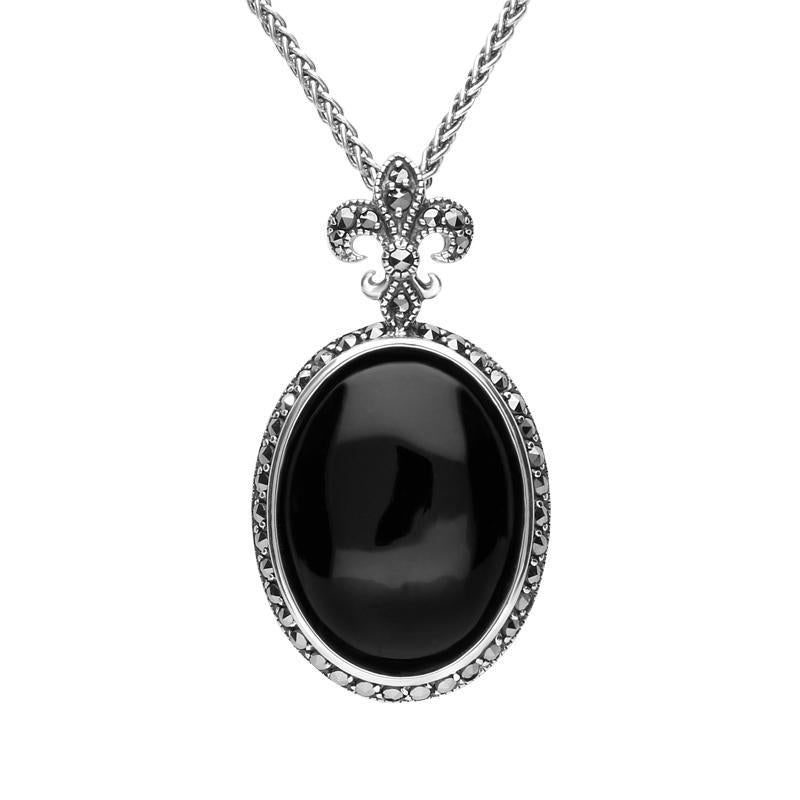 Sterling Silver Whitby Jet Marcasite Fleur De Lis Topped Oval Necklace P2215