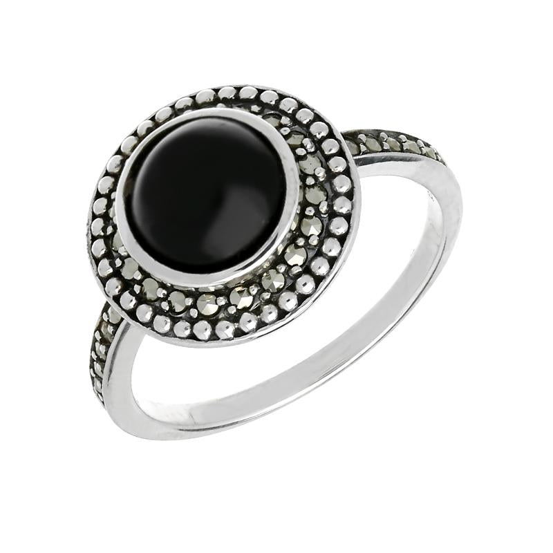 Sterling Silver Whitby Jet Marcasite Frame Large Ring R784
