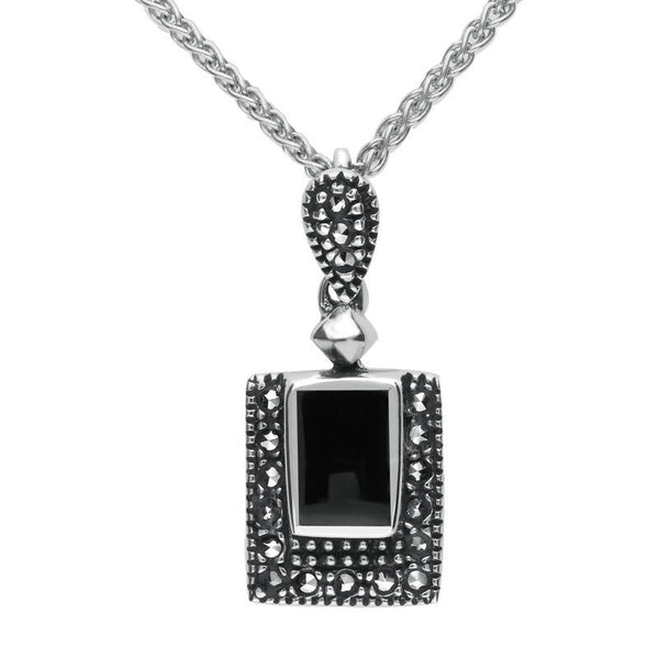 Sterling Silver Whitby Jet Marcasite Framed Oblong Necklace, P1308.
