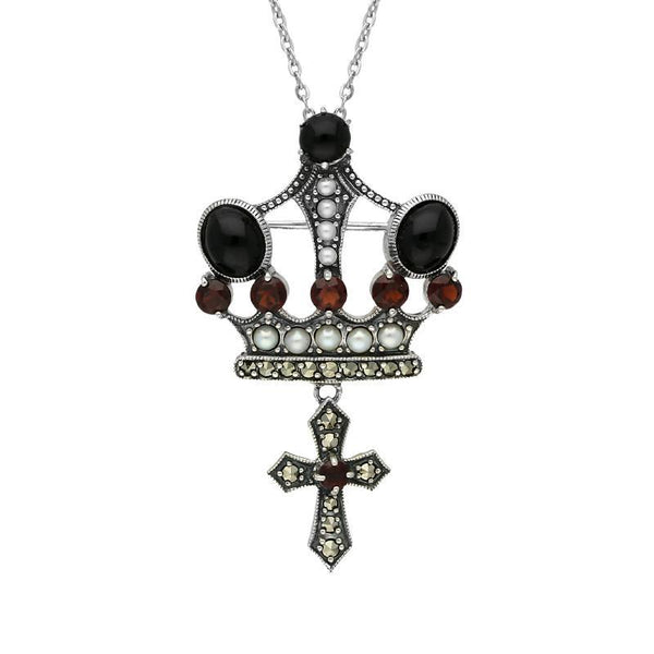 Sterling Silver Whitby Jet Marcasite Garnet Pearl Crown & Cross Necklace P2217