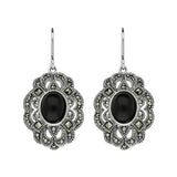 Sterling Silver Whitby Jet Marcasite Lace Edge Oval Drop Earrings E2148