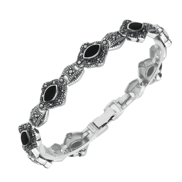 Sterling Silver Whitby Jet Marcasite Marquise Link Bracelet. b754.