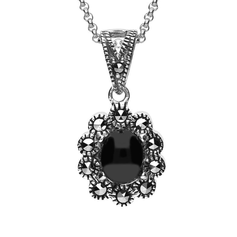 Sterling Silver Whitby Jet Marcasite Oval Beaded Edge Necklace, P2343.
