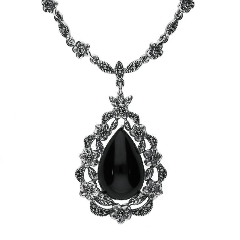 Sterling Silver Whitby Jet Marcasite Pear Cut Floral Necklace, N999.