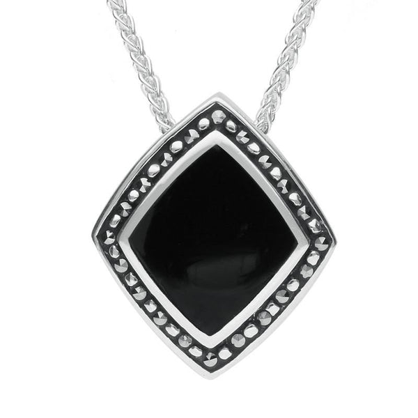 Sterling Silver Whitby Jet Marcasite Rhombus Necklace. P1315.