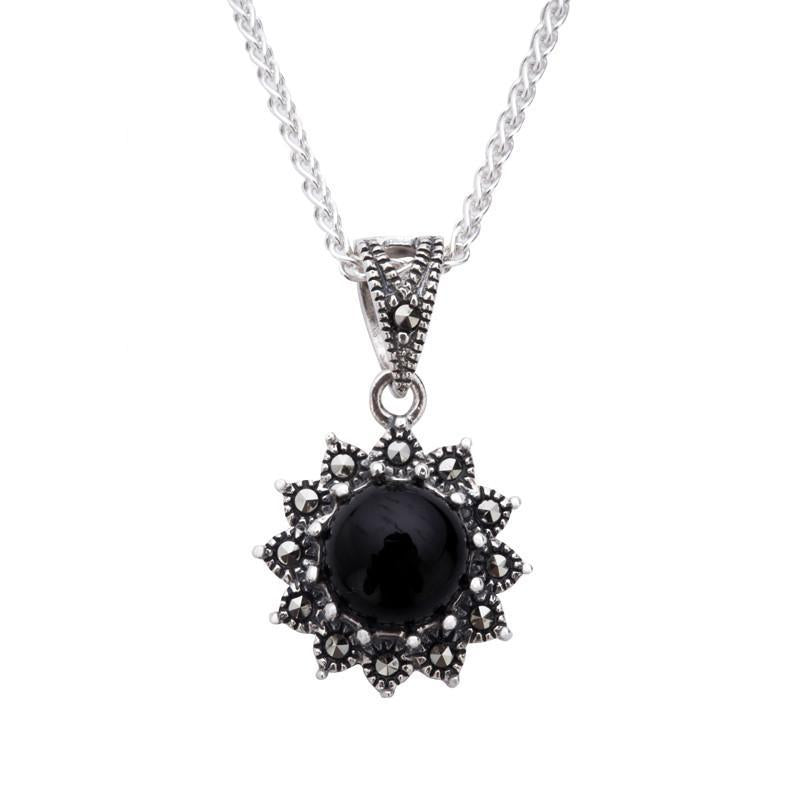 Sterling Silver Whitby Jet Marcasite Round Beaded Edge Necklace, P2127.