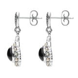 Sterling Silver Whitby Jet Marcasite Round Edge Bead Drop Earrings. E2306