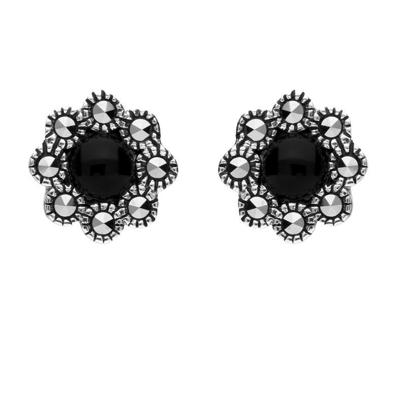 Sterling Silver Whitby Jet Marcasite Round Edge Bead Stud Earrings E1635