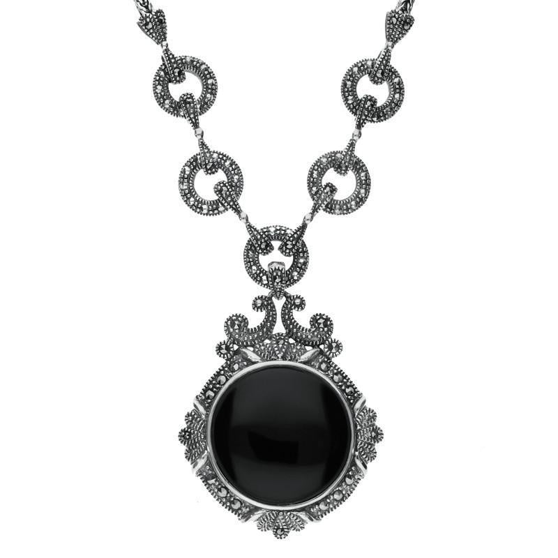 Sterling Silver Whitby Jet Marcasite Round Ornate Necklace, N997.
