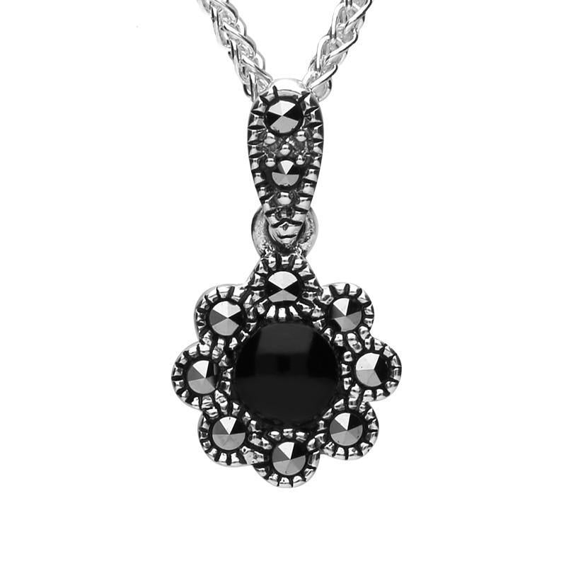 Sterling Silver Whitby Jet Marcasite Rounded Bead Edge Necklace, P2311.