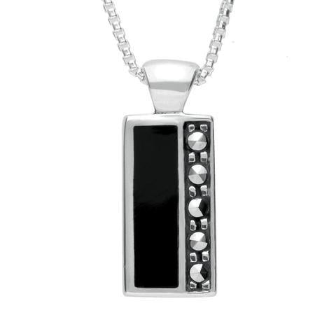 Sterling Silver Whitby Jet Marcasite Small Oblong Necklace, P1312.