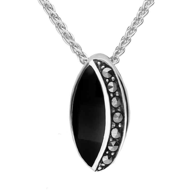 Sterling Silver Whitby Jet Marcasite Small Oval Necklace. P1316