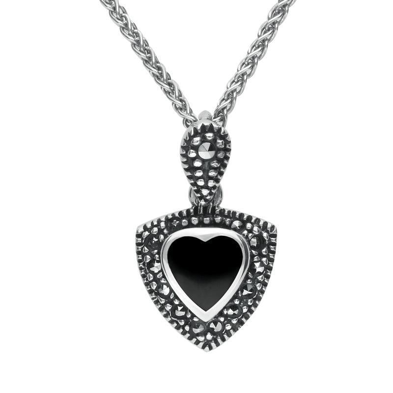 Sterling Silver Whitby Jet Marcasite Triangle Heart Necklace P1321