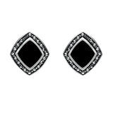 Sterling Silver Whitby Jet Marcasite Wide Rhombus Framed Stud Earrings. E936.