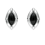 Sterling Silver Whitby Jet Marquise Beaded Edge Two Piece Set. s039