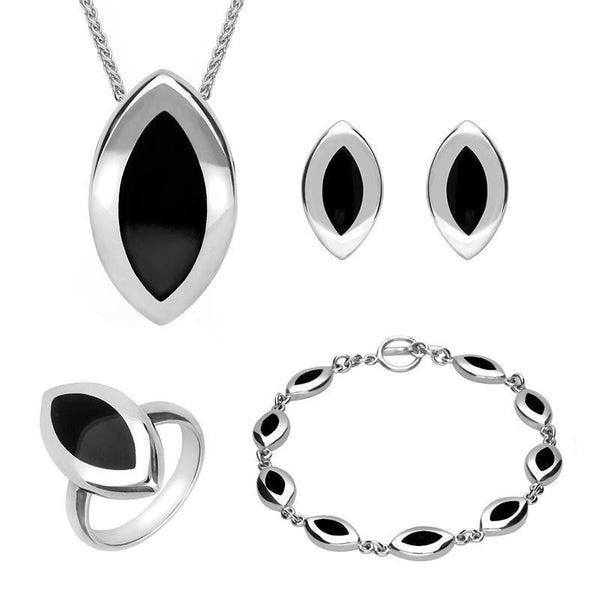 Sterling Silver Whitby Jet Marquise Four Piece Set. S007