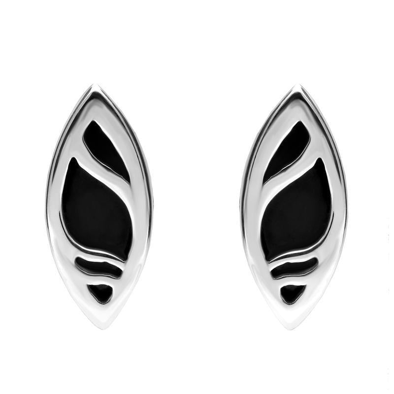 Sterling Silver Whitby Jet Marquise Shaped Ripple Stud Earrings E478