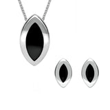 Sterling Silver Whitby Jet Marquise Two Piece Set S045