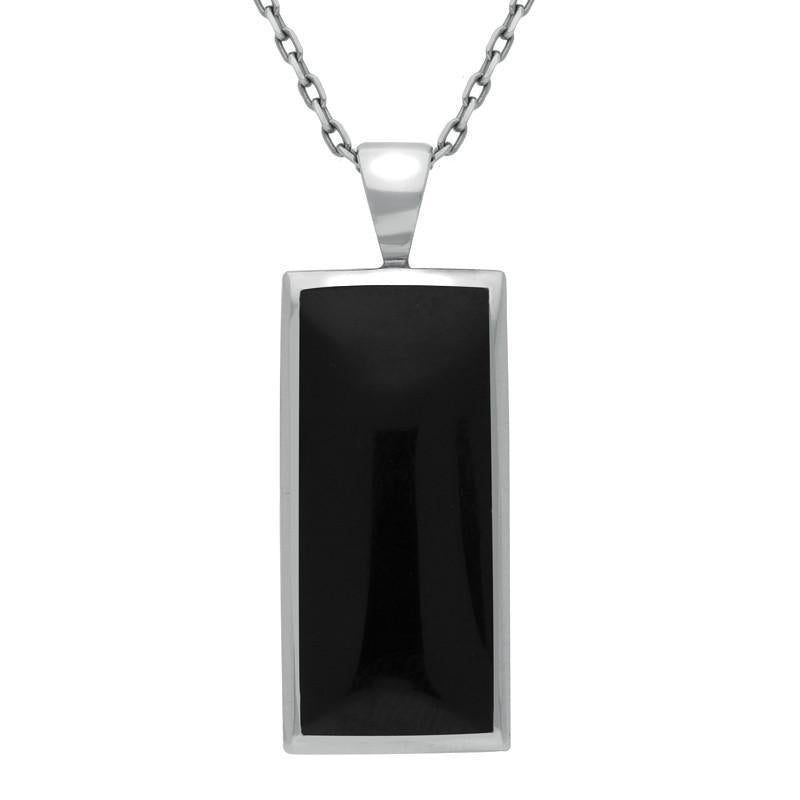 Sterling Silver Whitby Jet Medium Oblong Necklace. P246.