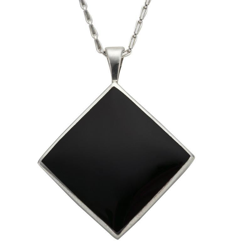 Sterling Silver Whitby Jet Medium Rhombus Necklace, P1805.