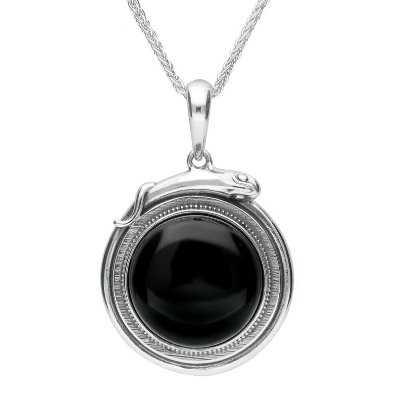 Sterling Silver Whitby Jet Medium Round Snake Edge Necklace P3310