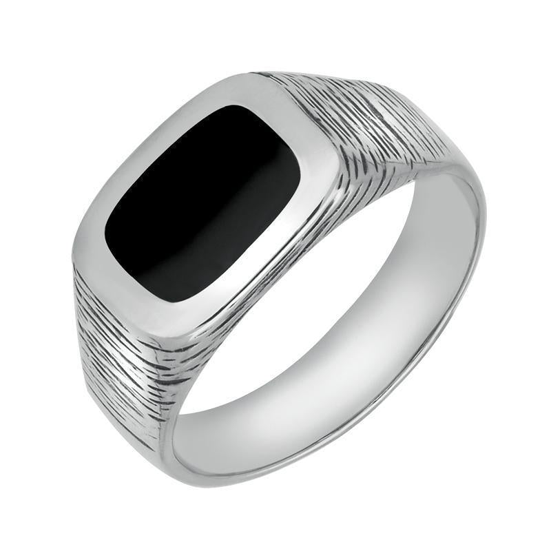 Sterling Silver Whitby Jet Oblong Bark Effect Signet Ring. R006