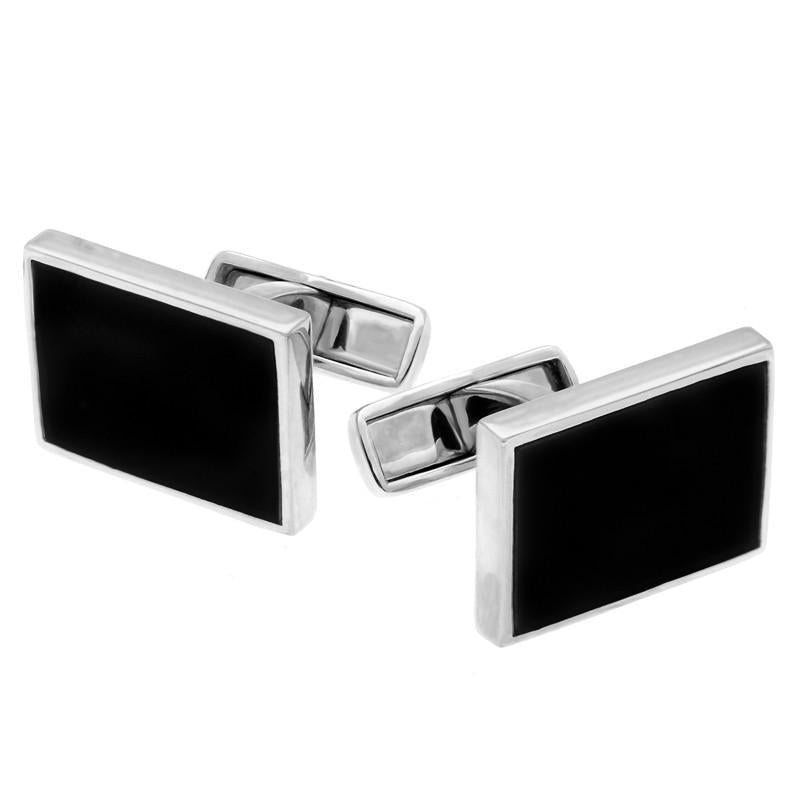 Sterling Silver Whitby Jet Oblong Cufflinks, CL416.