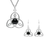 Sterling Silver Whitby Jet Open Celtic Cross Two Piece Set. S037