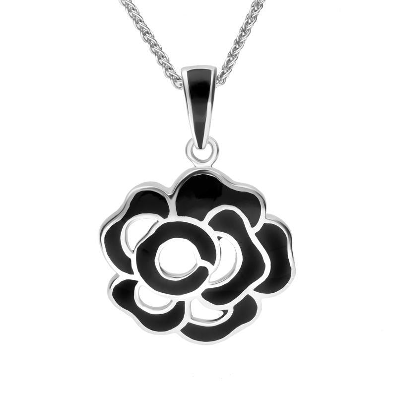 Sterling Silver Whitby Jet Open Rose Necklace. P1274