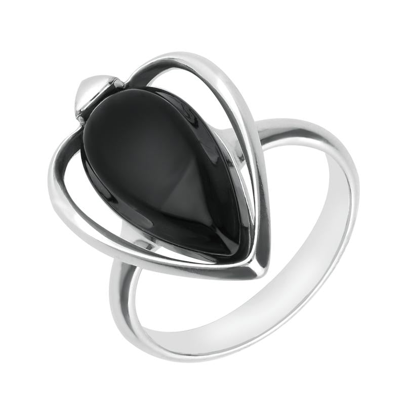 Sterling Silver Whitby Jet Open Sides Pear Ring R1171
