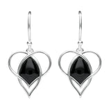 Sterling Silver Whitby Jet Open Twist Heart Two Piece Set. S036