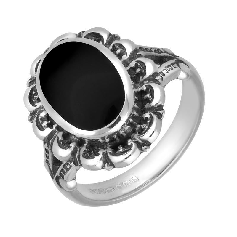 Sterling Silver Whitby Jet Oval Antique Frame Ring. R111.