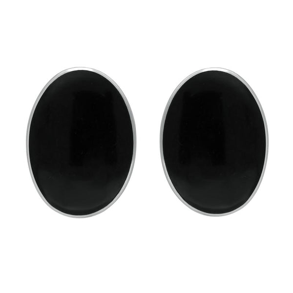 Sterling Silver Whitby Jet Oval Clip On Earrings E033