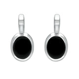 Sterling Silver Whitby Jet Oval Drop Earrings. e2036.