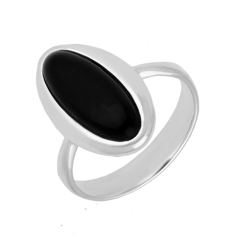 Sterling Silver Whitby Jet Oval Ring R922