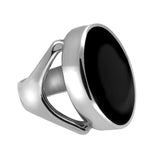 Sterling Silver Whitby Jet Oval Split Shoulder Ring. R141.