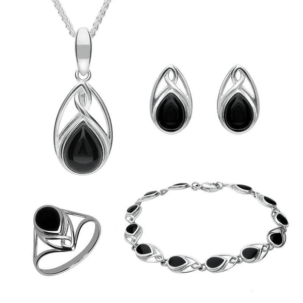 Sterling Silver Whitby Jet Pear Shaped Celtic Four Piece Set. S001