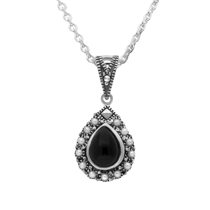Sterling Silver Whitby Jet Pearl Marcasite Edge Pear Necklace. P3123.