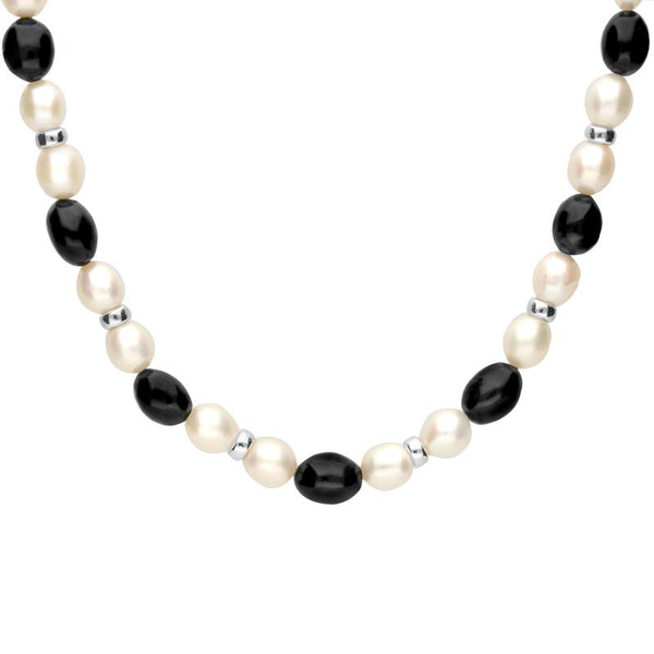 Sterling Silver Whitby Jet Pearl Oval Bead Necklace. N884.