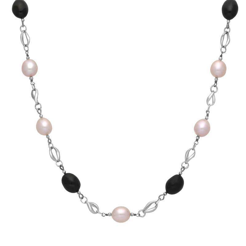 Sterling Silver Whitby Jet Pearl Oval Beaded Necklace. N880.