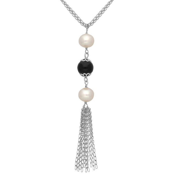 Sterling Silver Whitby Jet Pearl Triple Bead Tassel Necklace. N890.