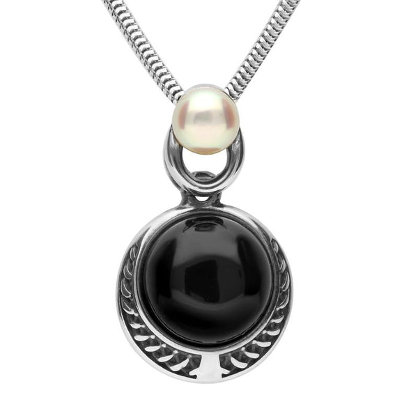 Sterling Silver Whitby Jet Pearl Two Stone Rope Edge Necklace. P1995.