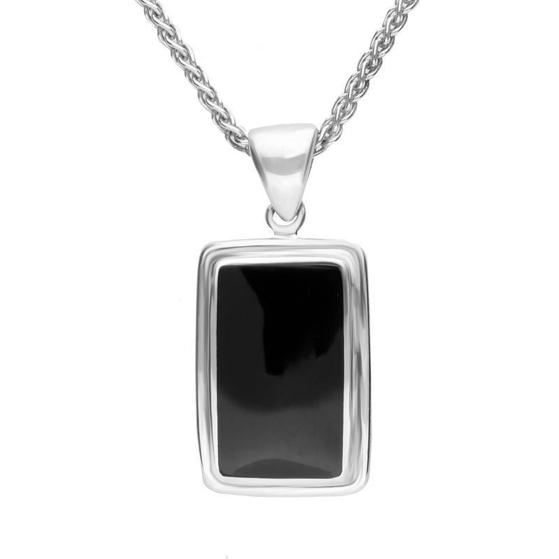 Sterling Silver Whitby Jet Ribbed Edged Oblong Necklace. P291