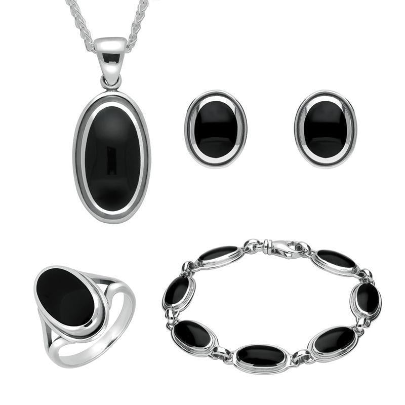 Sterling Silver Whitby Jet Ribbed Oval Four Piece Set. S014
