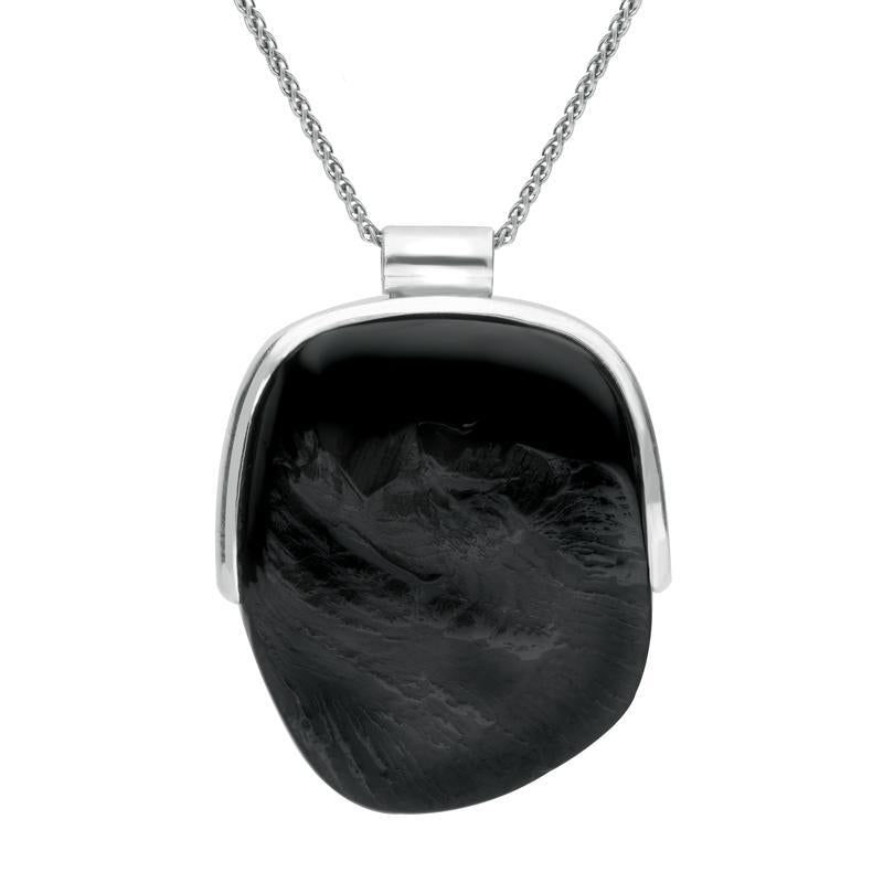 Sterling Silver Whitby Jet Rough Oval Necklace, PUNQ0006378