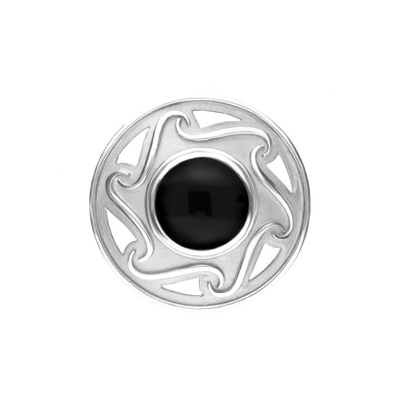 Sterling Silver Whitby Jet Round Celtic Framed Brooch. m197.