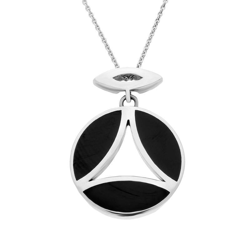 Sterling Silver Whitby Jet Round Three Stone Necklace P1674c