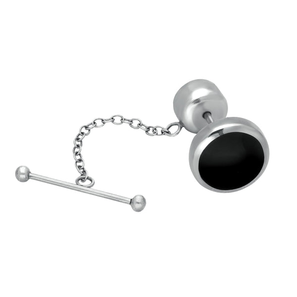 Sterling Silver Whitby Jet Round Tie Pin. CL010.